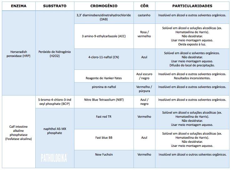 Tabela I2 – Marcadores e cromogénios mais utilizados em imunohistoquímica